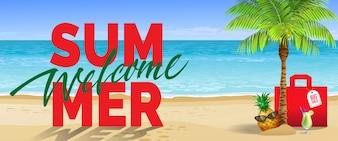 Bem-vindo verão, grande venda, banner. Bebida gelada, abacaxi, óculos de sol, palmeira, bolsa vermelha, praia
