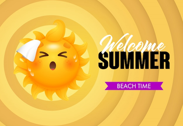 Bem-vindo verão, lettering tempo de praia com personagem de desenho animado sol