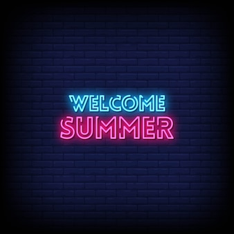 Bem-vindo verão sinais de néon estilo texto