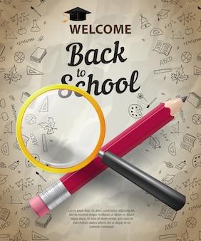 Bem-vindo, volta para escola letras com lápis cruzado e lupa