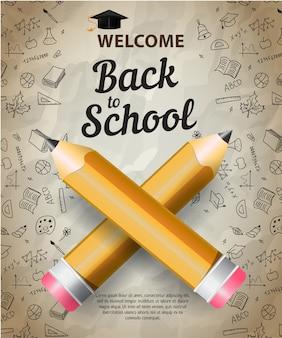 Bem-vindo, volta para escola letras com silhueta de boné de formatura