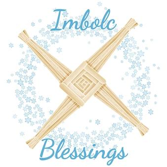 Bênçãos de imbolc primavera pagão feriado texto em uma coroa de flocos de neve com cruz de brigid