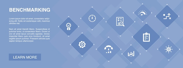 Benchmarking banner 10 icons concept.process, management, indicadores simples icons