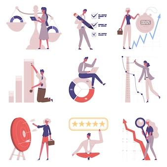 Benchmarking de comparação de negócios e modelo de melhoria. concorrentes de desenvolvimento de negócios, conjunto de ilustração vetorial de teste de sucesso de referência. conceito de benchmarking da empresa