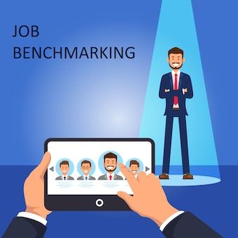 Benchmarking de trabalho escolher gerente de rh de funcionário