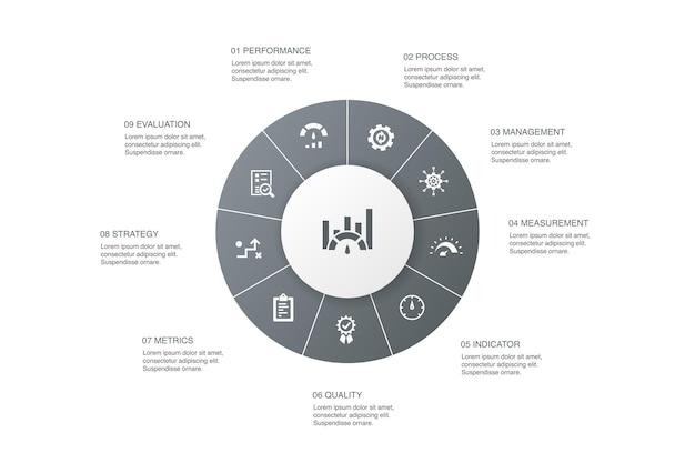Benchmarking infográfico 10 etapas círculo design.performance, processo, gestão, ícones simples de indicador