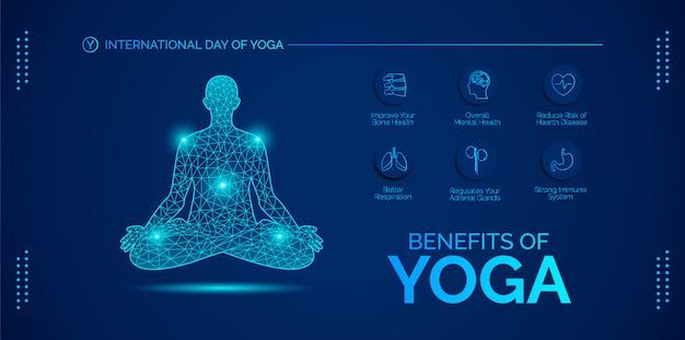 Benefício do design de ioga. dia do yoga em 21 de junho.