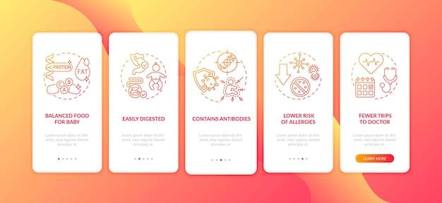 Benefícios da amamentação: tela da página do aplicativo móvel com conceitos