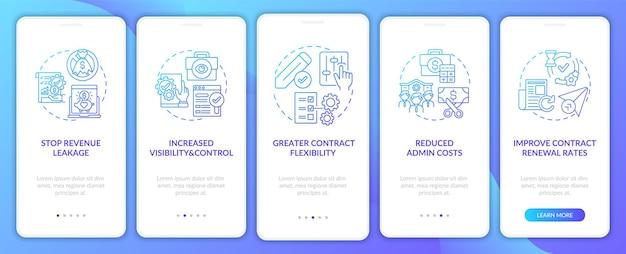 Benefícios de automação de gerenciamento de contratos conjunto de telas de páginas de aplicativos móveis