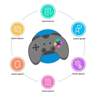 Benefícios de jogar infográfico de videogame