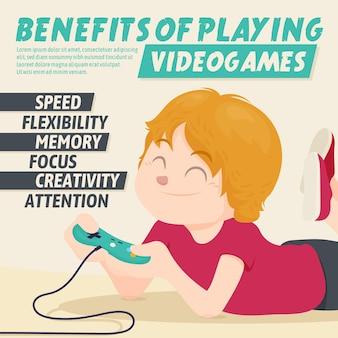 Benefícios de jogar personagem de videogame com joystick