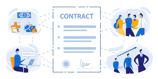 Benefícios de trabalho do escritório de sinal de contrato de emprego