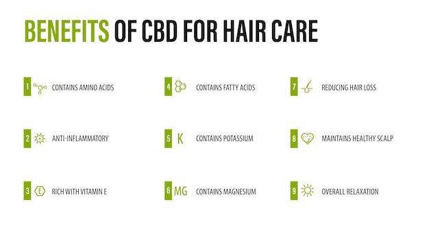 Benefícios do cbd para cuidados com os cabelos, cartaz infográfico branco com ícones de benefícios médicos