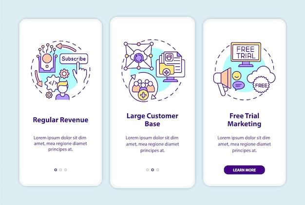 Benefícios do saas para desenvolvedores que integram a tela da página do aplicativo móvel com conceitos. receita regular, acompanhamento da base de clientes 3 etapas. modelo de iu com cor rgb