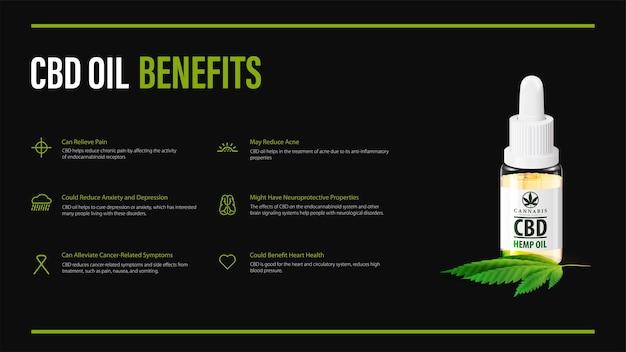 Benefícios do uso de óleo cbd, design de pôster preto com infográfico e garrafa de vidro de óleo cbd