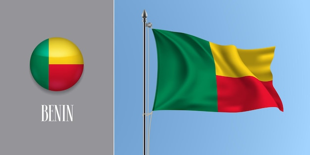 Benin acenando uma bandeira no mastro da bandeira e ilustração vetorial ícone redondo. maquete 3d realista com desenho de bandeira e botão de círculo
