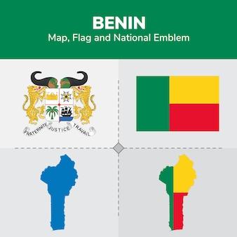 Benin map flag e national emblem