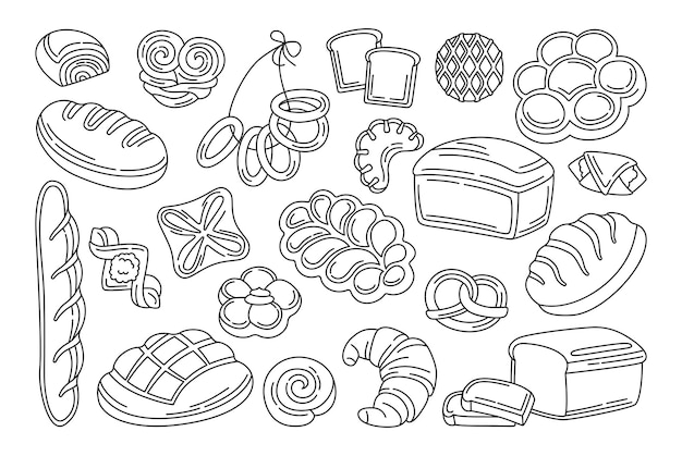Bens de padaria doodle conjunto preto. pão de forma de linha e baguete francesa, pretzel, muffin, croissant, baguete francesa ciabatta