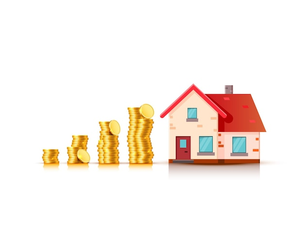 Bens imobiliários financeiros, moedas de ouro e casa. ilustração vetorial