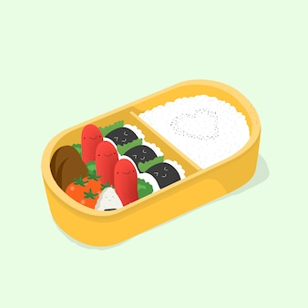 Bento fofo. lancheira japonesa. comida engraçada dos desenhos animados. ilustração colorida isométrica