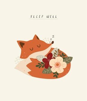Berçário com ilustração de raposa fofa