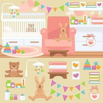 Berçário e interior do quarto de bebê.