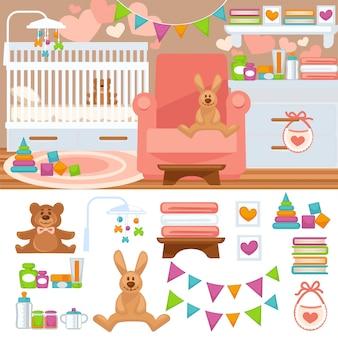 Berçário e interior do quarto de infância.