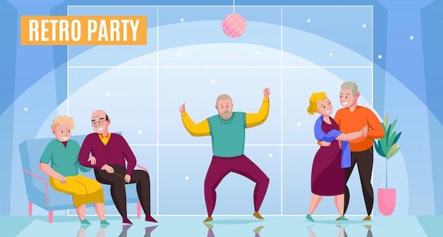 Berçário em casa idosos casais solteiros curtindo festa retrô dançando namoro comunicação ocasião plana cartaz ilustração em vetor
