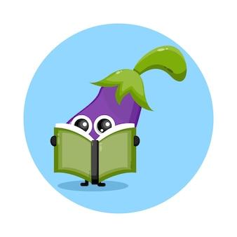 Berinjela lendo um livro com logotipo de personagem fofo