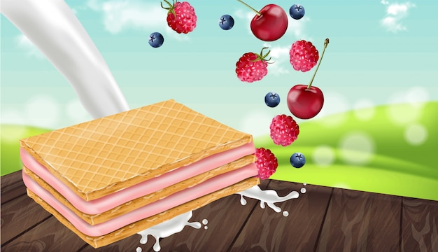 Berry cream waffles cookies mock up