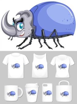Besouro azul em diferentes modelos de produtos