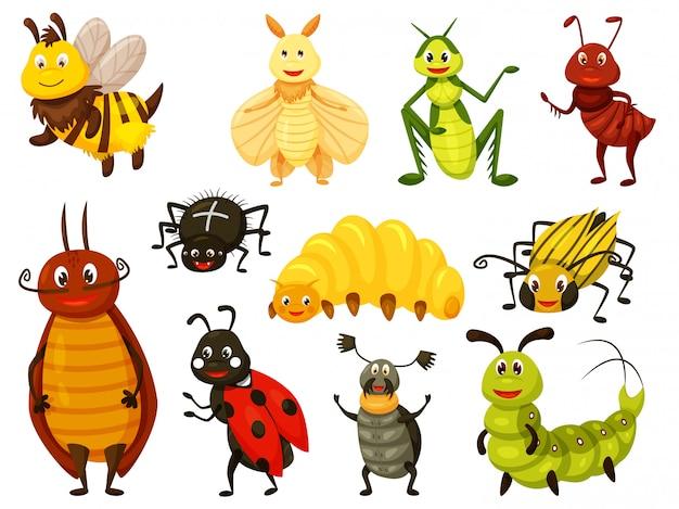 Besouro de desenho animado. bug kawai isolado conjunto em branco. vespa bonita, abelha, gafanhoto, mosca, formiga, lagarta, aranha, joaninha, forra, besouro da batata do colorado, larva, besouro de veado. ilustração vetorial de inseto