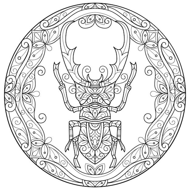 Besouro em fundo branco esboço desenhado à mão para livro de colorir adulto