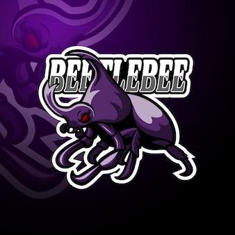 Besouro esport logotipo mascote design