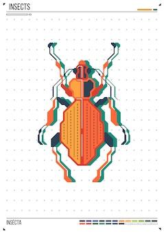 Besouro geométrico de vetor ou besouro. inseto no fundo do cartaz