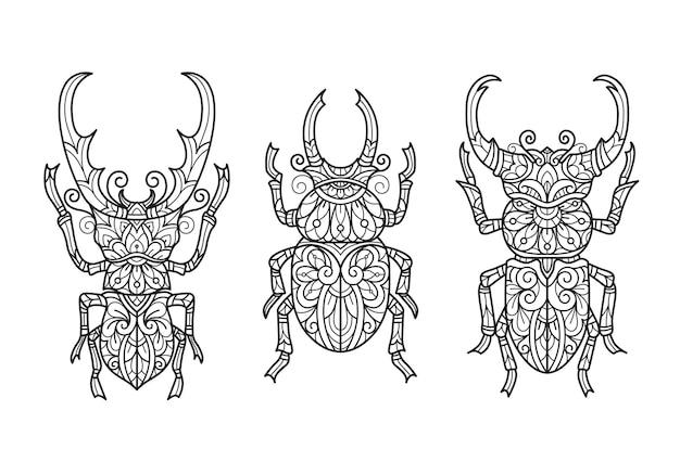 Besouro, ilustração do esboço desenhado de mão para livro de colorir adulto.