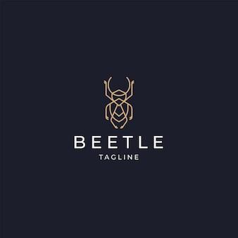 Besouro luxuoso elegante logotipo de cor dourada ícone modelo de design plano vecto