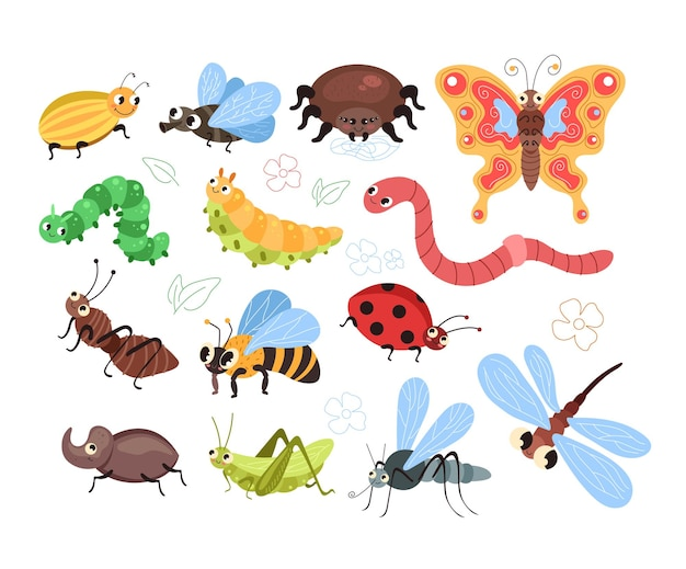 Besouros, insetos, lagartas, minhoca, formiga, aranha, borboleta, mosquito, abelha, isolado, conjunto