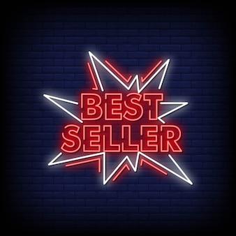 Best seller sinais de néon estilo texto