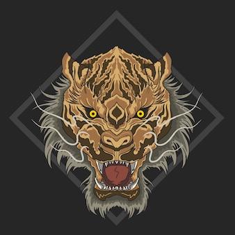 Besta de cara zangada de tigre