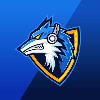 Besta lobo usando logotipo mascote fone de ouvido
