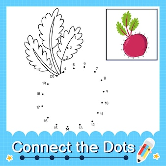 Beterraba quebra-cabeça infantil conecte a planilha de pontos para crianças contando os números de 1 a 20