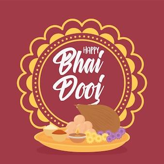 Bhai dooj feliz, cultura alimentar de mandala e ilustração de celebração da família indiana