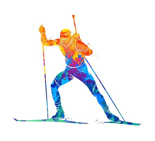 Biatleta abstrato de respingos de aquarelas. ilustração de tintas.