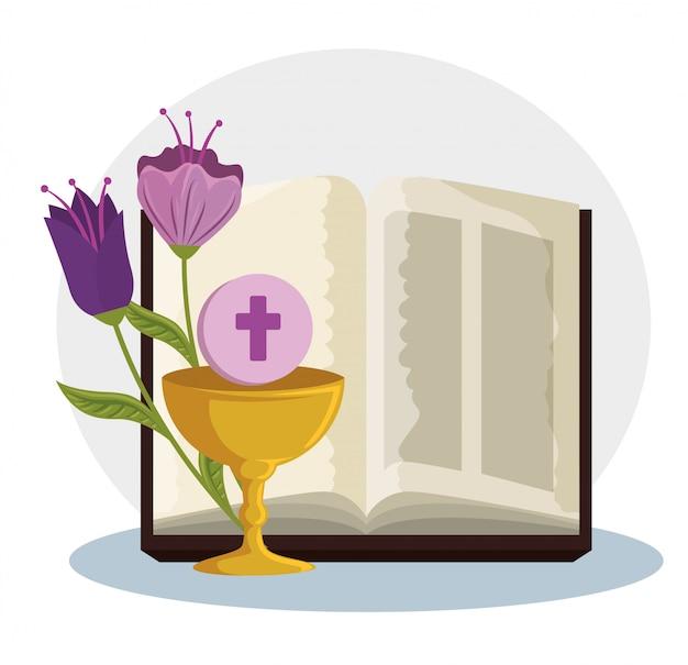 Bíblia com cálice e santo anfitrião da primeira comunhão
