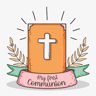Bíblia com folhas de ramos e fita para primeira comunhão