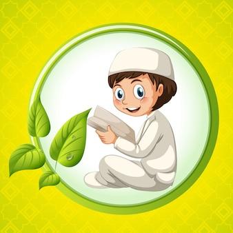 Bíblia de leitura do menino muçulmano