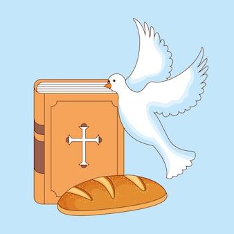 Bíblia sagrada com espírito santo e pão. ilustração dos desenhos animados do corpus christi