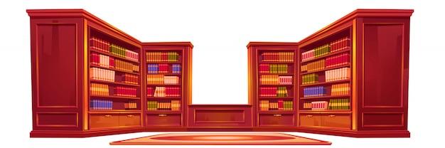 Biblioteca antiga de luxo, material do interior do ateneu.
