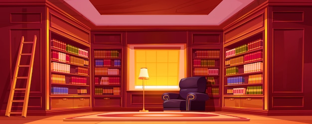 Biblioteca com estantes, escada, cadeira e candeeiro.